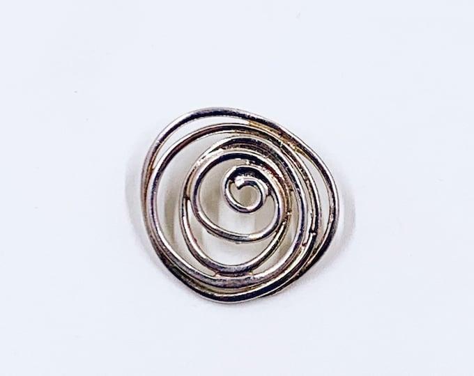 Vintage Silver Modernist Wire Swirl Pendant | Geometric Swirl Design Pendant