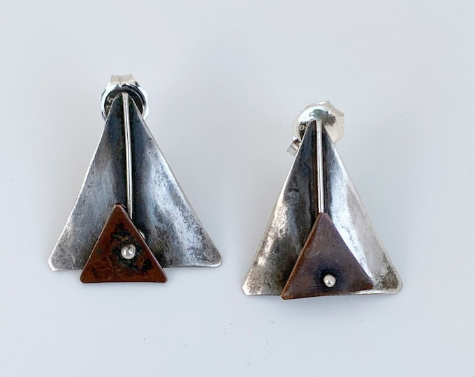 Vintage Silver Modernist Kinetic Earrings | Modernist Copper and Silver Earrings