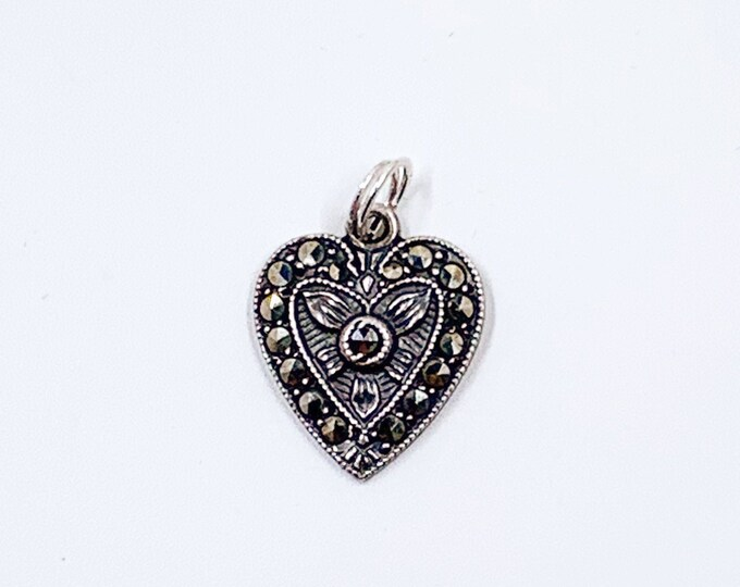 Vintage Sterling Silver Marcasite Heart Charm | Silver Floral Heart Pendant