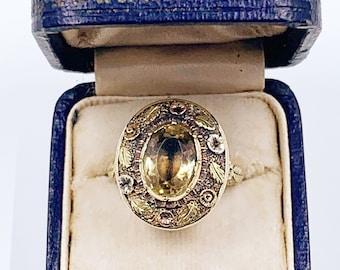 Antique Victorian 14k Gold Floral Ring | Antique Collet Set Lemon Quartz Ring | US Size 5 1/2 Ring
