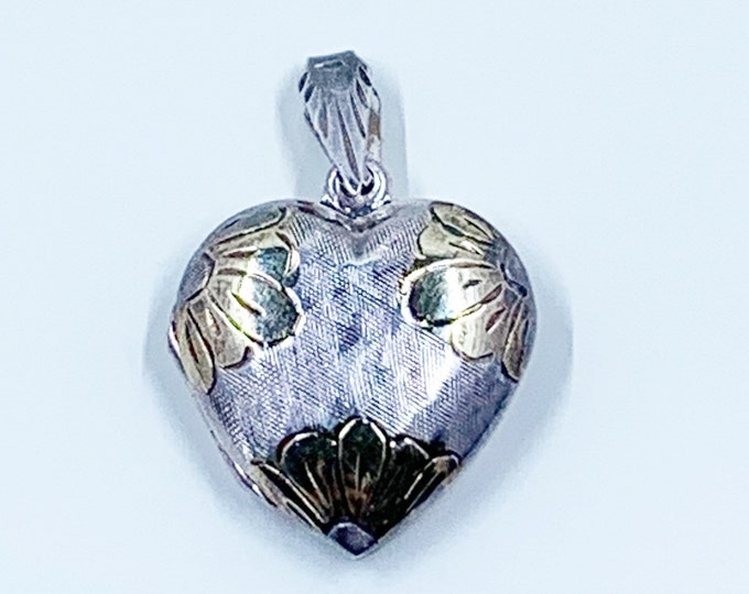 Vintage Silver Engraved Floral Heart Locket   Two Tone Flower Locket Pendant