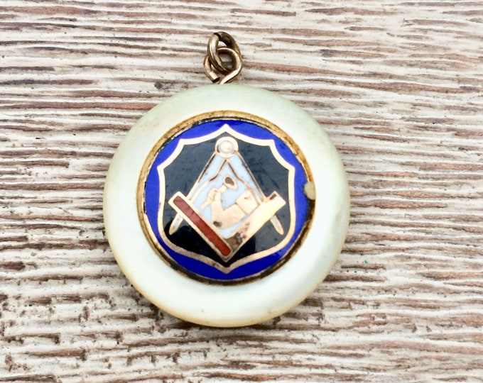 Vintage Masonic Charm | Mother of Pearl | Junior Order American Mechanics