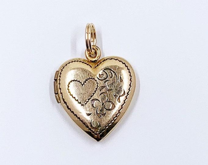 Vintage Gold Heart Floral Locket | Engraved Flower Heart Locket