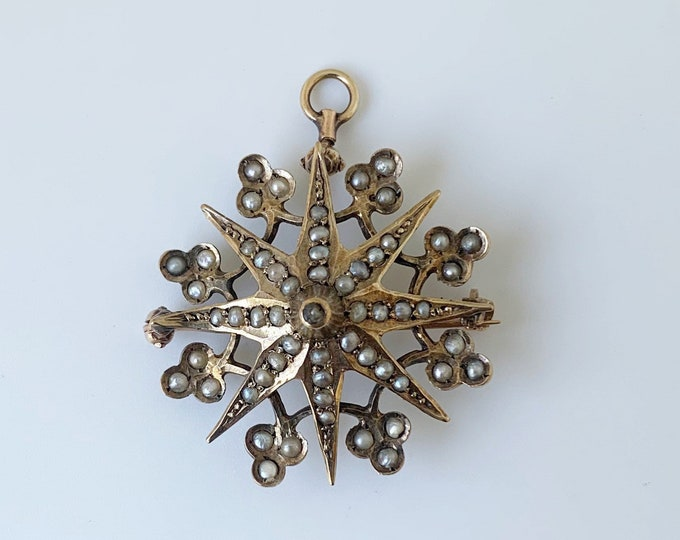 Victorian Seed Pearl Star Brooch   Gold Clover and Star Brooch