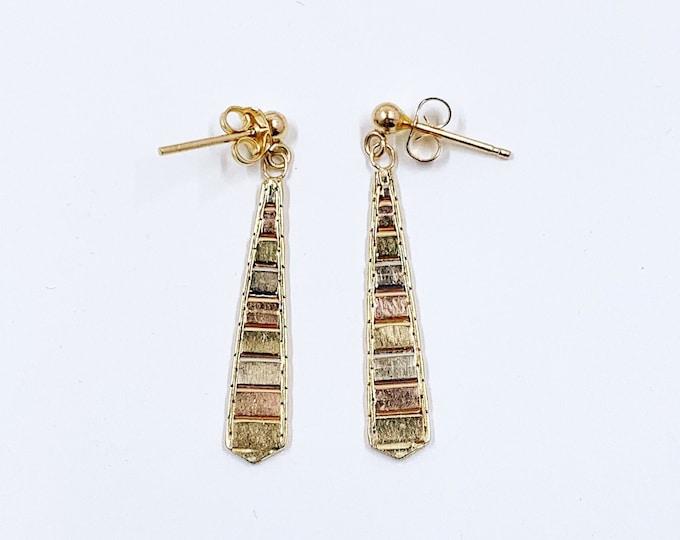 Vintage 14K Gold Multi Color Drop Earrings | 14K Tri-Tone Gold Earrings