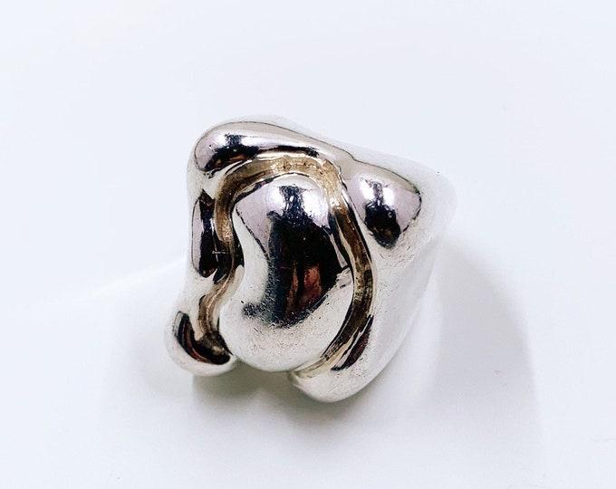Vintage Charles Krypell Modernist Silver Ring   Size 6 1/4 Ring