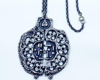 Vintage Guy Vidal Brutalist Necklace | 1960' s Modernist Designer Necklace | Pewter Guy Vidal