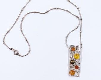 Vintage Silver Modernist Amber Necklace | Multi-color Amber Pendant Necklace