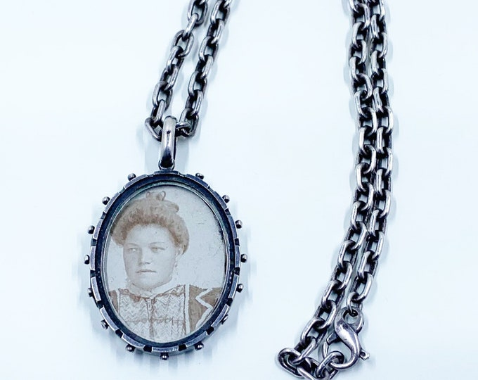 Antique Victorian Silver Locket Necklace | Beaded Edge Aesthetic Locket