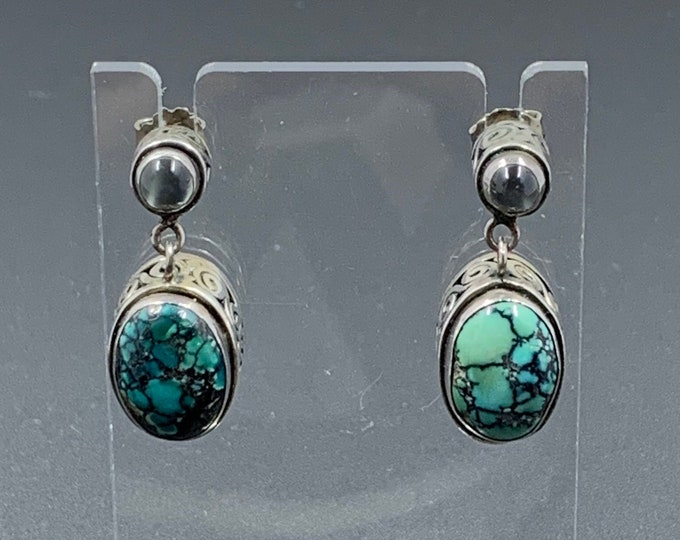 Vintage Silver Moonstone and Turquoise Drop Earrings | Silver Swirl Pattern | Multi-Stone Earrings