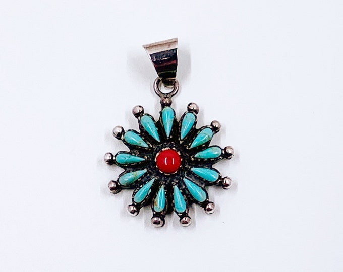 Vintage Petit Point Turquoise Cluster and Coral Pendant  | Silver Turquoise Flower Cluster
