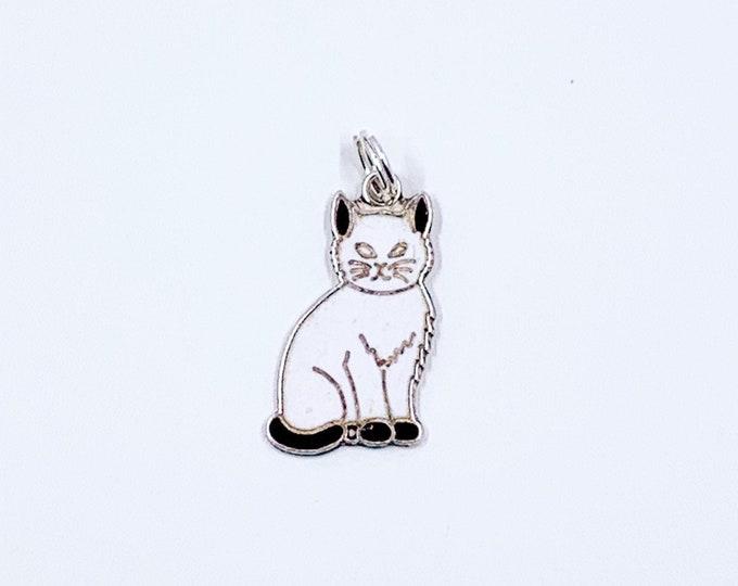 Vintage Silver Enamel Cat Charm | Kitty Cat Enamel Charm | Danecraft Cat Charm