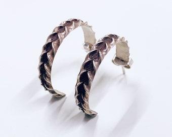 Vintage Silver Textured Hoop Earrings | Silver Braided Ridge Patterned Half Hoop Earrings