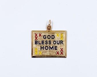 Vintage Enamel God Bless Our Home Charm | Sterling Cross Stitch Sampler God Bless Our Home Charm