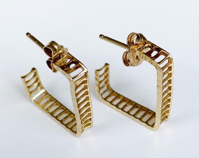 Vintage Gold Open Hoop Earrings