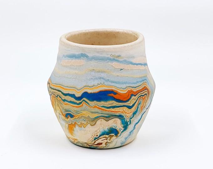 Vintage Small Nemadji Clay Swirl Pottery Vase   Unglazed Swirled Vase   2 7/8 inch Tall Vase    Handmade Decor
