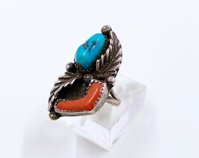 Vintage Turquoise and Coral Ring   Southwest Jewelry   Size 8