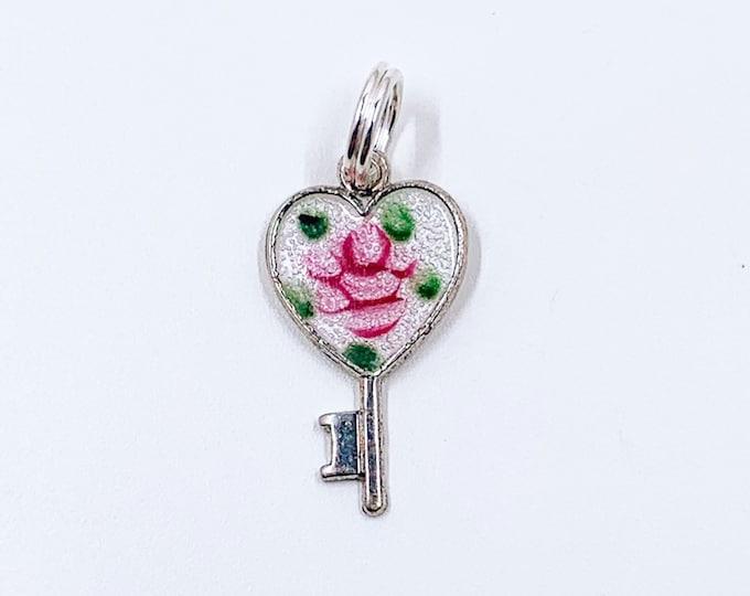 Vintage Silver Enamel Flower Heart Key Charm | Small Heart Hand Painted Enamel Key Charm