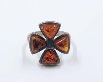 Vintage Silver Amber Cross Ring   Cross Pattée Ring   Size 8 Ring