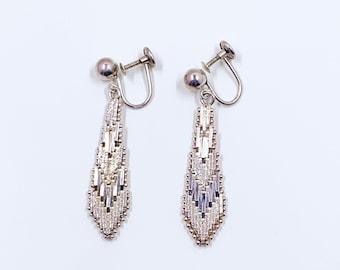 Vintage Sterling Silver Riccio Dangle Earrings | Sterling Silver Textured Drop Earrings