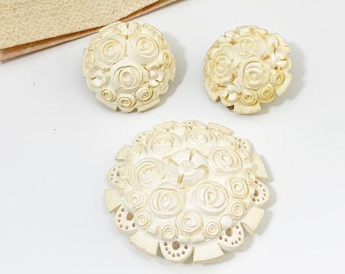 Vintage Meerschaum Flower Brooch and Earrings | Izmir Turkey | Meerschaum Jewelry Set