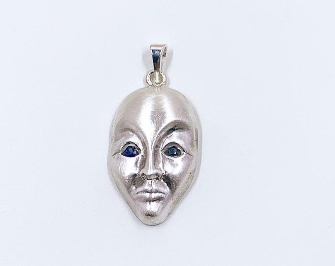 Vintage Silver Modernist Face Pendant | Modernist Silver Mask Pendant | 3D Figural Face Pendant