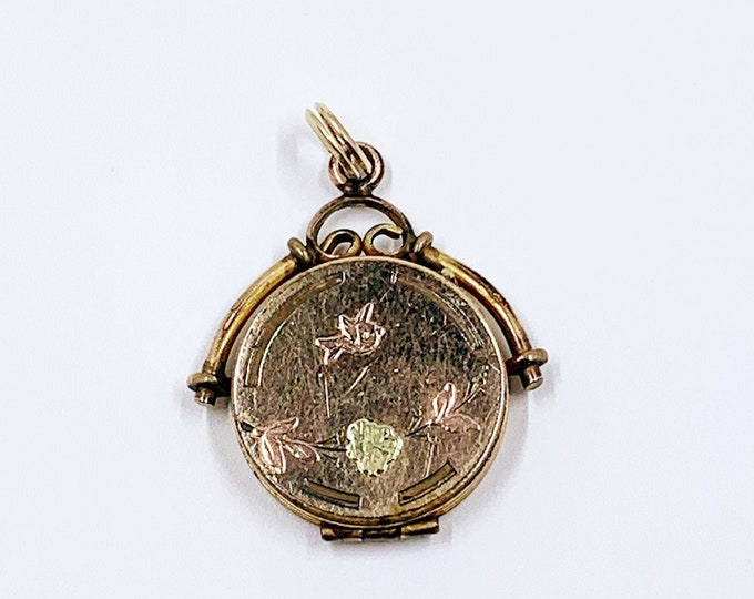 Victorian Aesthetic Bird and Flower Fob Locket   Victorian Gold-Filled Mixed Metals Locket   Bliss Brothers Co Locket