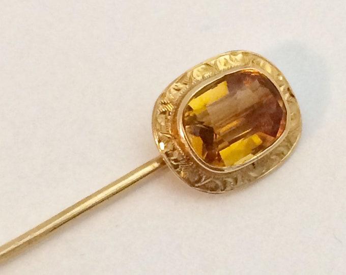 Vintage Gold Citrine Stick Pin | 14k Gold Stick Pin