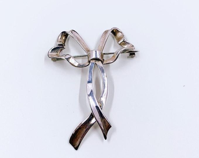 Vintage Silver Ribbon Brooch |  Silver Bow Brooch