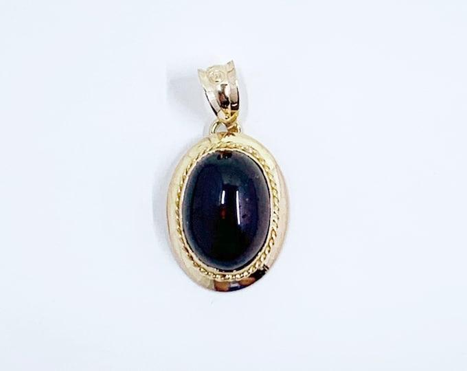 Victorian Garnet Gold Pendant | Garnet Carbuncle 14K Gold Drop Pendant | January Birthstone | Conversion Jewelry