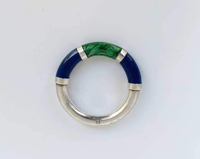 Silver Blue and Green Enamel Ring | Enamel Stackable Silver Ring | Size 5 3/4 Ring