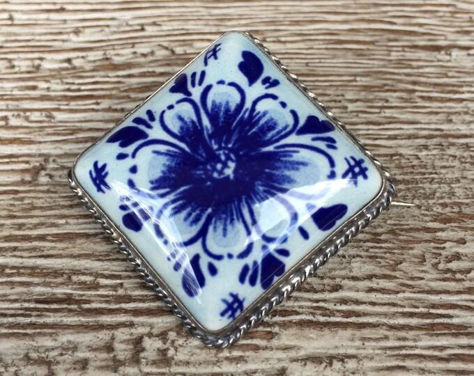 Vintage Delft Blue Flower Brooch | Silver 835 | Porcelain Plaque | Delft Jewelry