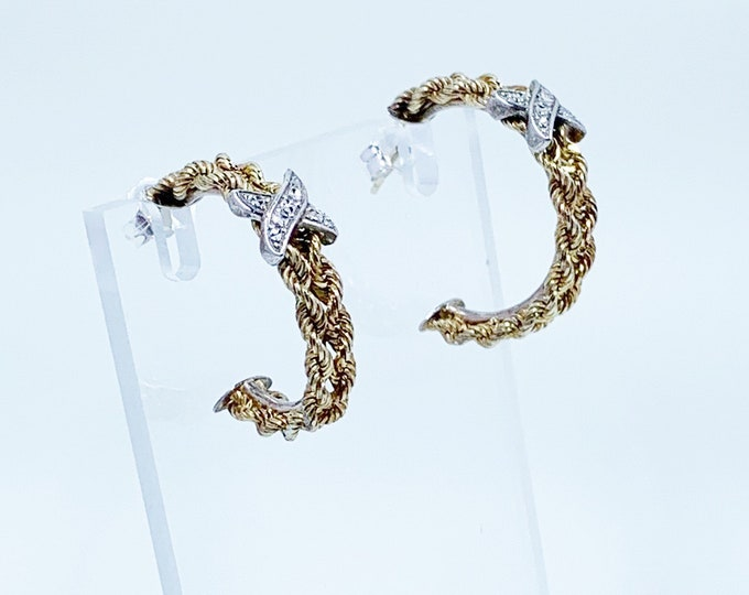 Vintage Two Tone Rope Hoop Earrings | Gold Filled and Silver | Patterned Textured Hoops