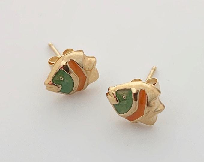 Gold Enamel Fish Earrings | 14K Tiny Stud Earrings | Green and Orange Enamel Fish