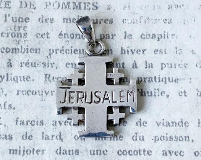 Vintage Silver Jerusalem Cross Pendant