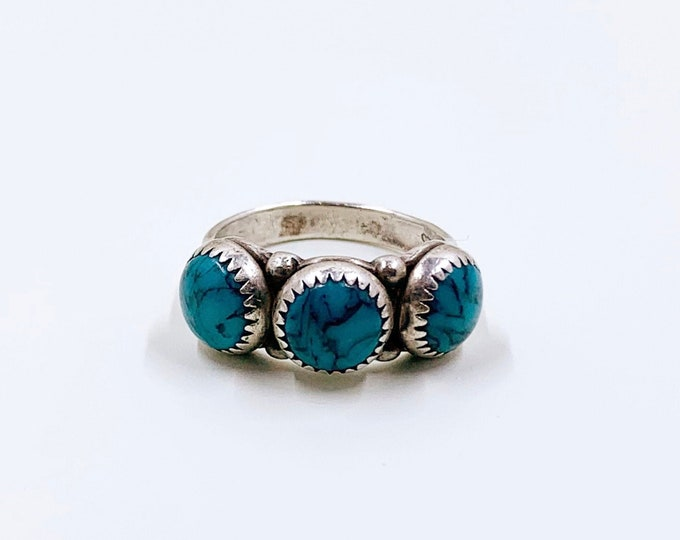 Vintage Silver Turquoise Three Stone Ring | Pacific Jewelry Manufacturing Co. Ring | Size 4.75