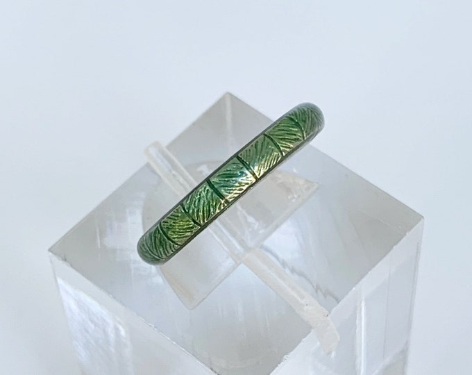 Silver Hidalgo Green Enamel Ring | Hidalgo Stackable Ring | Size 6 Ring