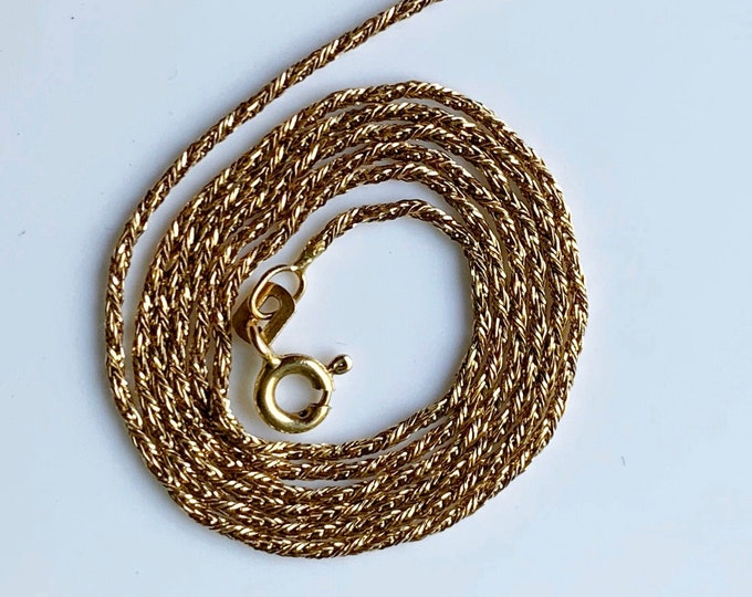 Vintage 14k Gold Wheat Chain |  20 inch Gold Chain | 1.1 mm Chain