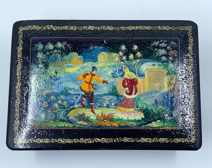 Vintage Russian Lacquer Box | Miniature Hand Painted Box | 1970's USSR Lacquer Box | Maiden Fairy Tale Scene