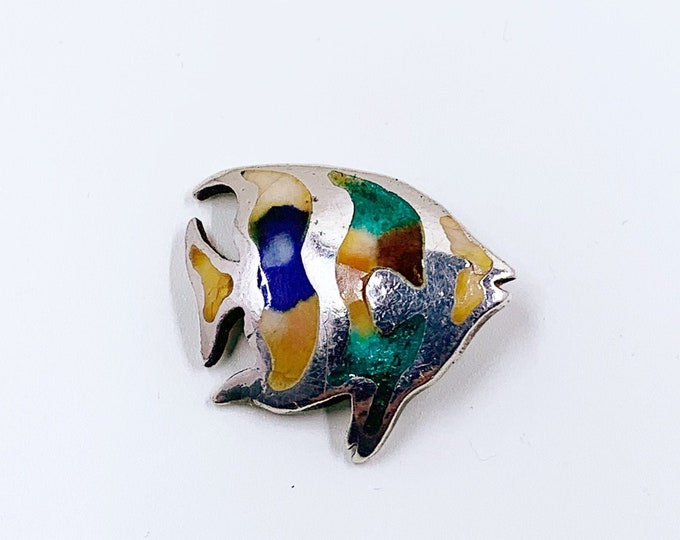 Vintage Silver Enamel Fish Pendant | Multi-Color Enamel Tropical Fish Pendant