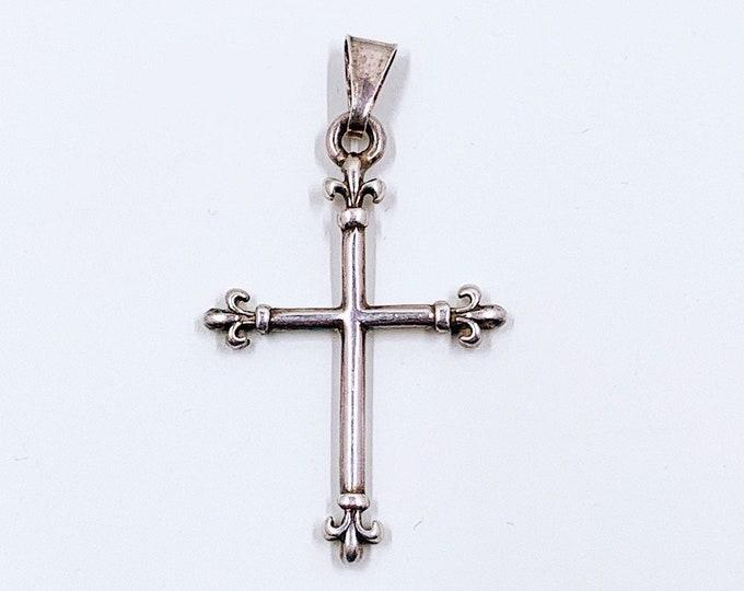 Vintage Silver Fleur De Lis Cross Pendant | Silver Double Sided Cross Pendant