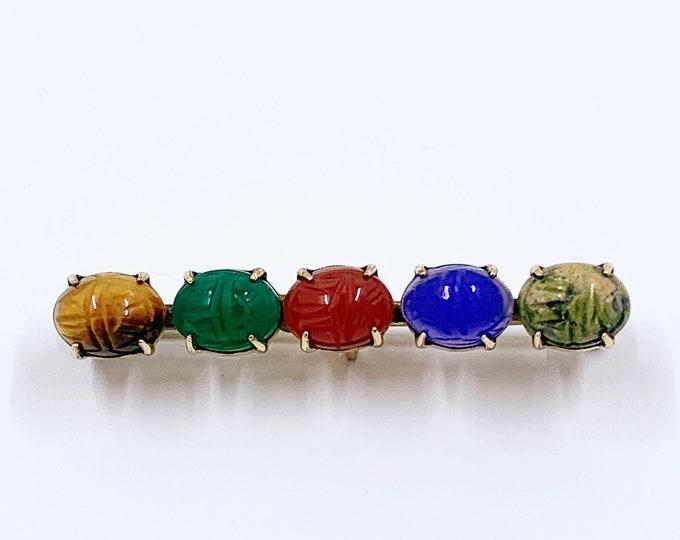 Vintage Egyptian Revival Scarab Bar Brooch | WRE 12k Yellow Gold Filled Carved Scarab Beetle | Scarab Carved Gemstones