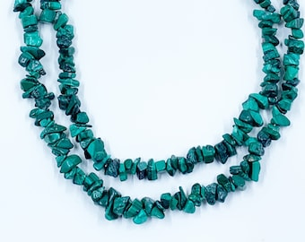 Malachite Bead Necklace | Chip Bead Gemstone | Stacking Necklace