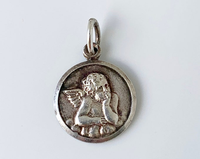 Vintage Silver Angel Raphael Charm | Raphael Angel Medallion Charm | The Sistine Madonna Angel