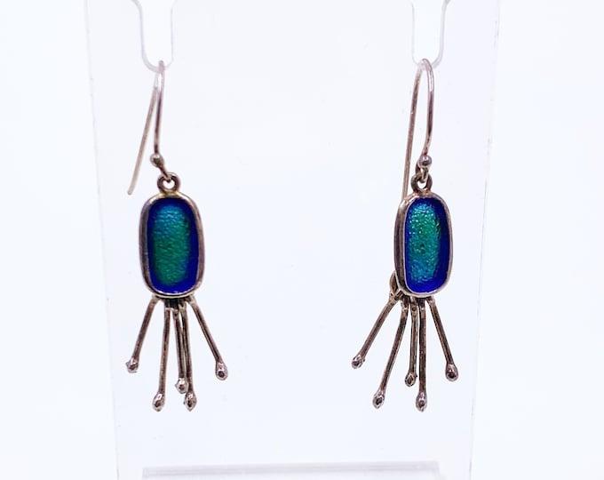 Vintage Silver Modernist Blue Enamel Earrings | Modernist Oval Blue Enamel Fringe Earrings | Articulated Silver Dangle Earrings