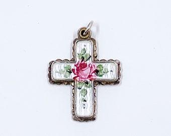 Vintage Sterling Silver Enamel Rose Cross Pendant | Sterling Enamel Four-Way Cross | Vintage White Enamel Scapular Slide Cross