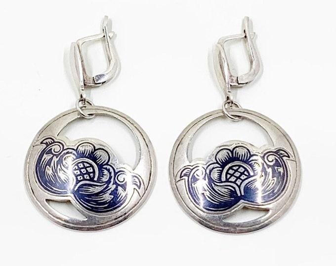 Vintage Silver Niello Flower Drop Earrings   Russian Black Niello Earrings