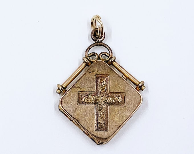 Victorian Cross Fob Locket   Antique Gold Filled Square Fob Locket   Bliss Brothers Co. Locket