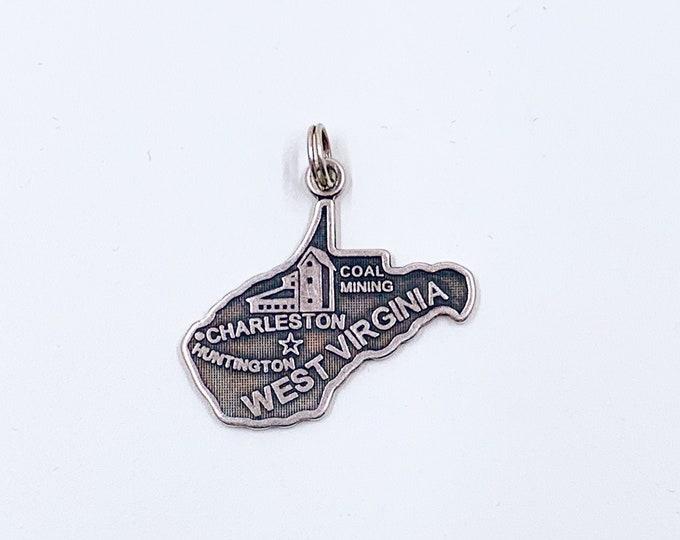 Vintage West Virginia State Charm | Silver West Virginia Charm