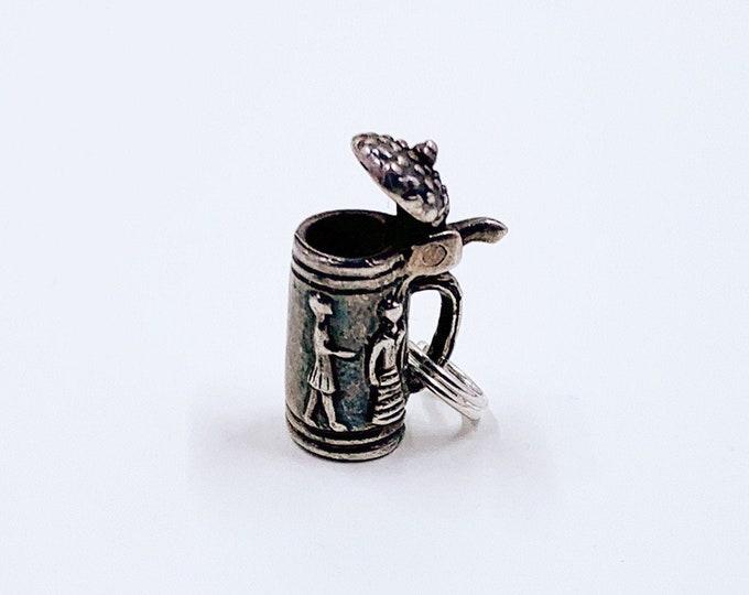 Vintage Silver Stein Charm | 3D Beer Stein Charm | Movable Stein